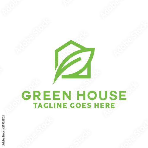 Photo  Green House Logo Design Vector with concept of home and leaf icon for real estate, property, residence and mortgage