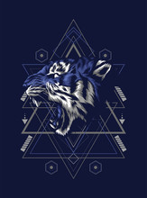 Wild Tiger Raring With Sacred Geometry Pattern As The Background