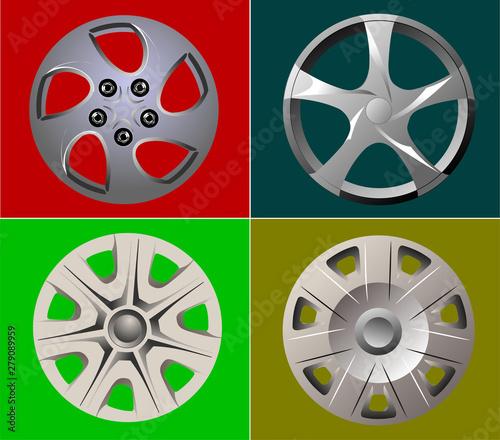 Fényképezés Decorative car wheel covers. Plate. Vector illustration