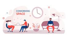 Flat Banner Advertising Modern Coworking Space
