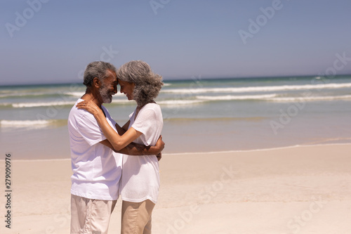 Senior couple head to head and embracing each other on beach
