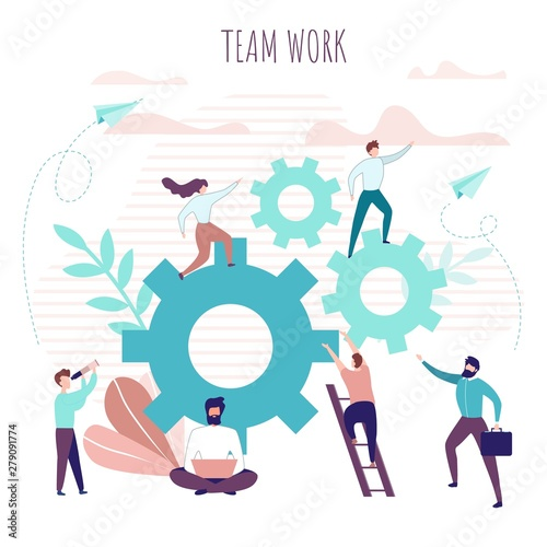Team Work Poster with Collaborating Office People Canvas Print