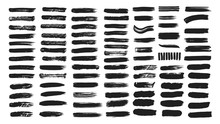 Big Collection Of Line Hand Drawn Trace Brush Strokes Black Paint Texture Set Vector Illustration Isolated On White Background. Calligraphy Brushes High Detail Abstract Elements.