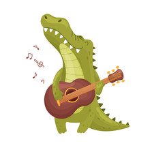 Cute Crocodile With A Guitar. Vector Illustration On White Background.