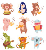 Fototapeta Fototapety na ścianę do pokoju dziecięcego - Humanized animals with musical instruments. Vector illustration on white background.