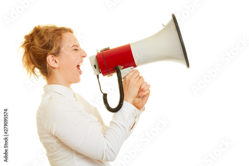 Poster de jardin Route Woman screaming in megaphone to the motivation