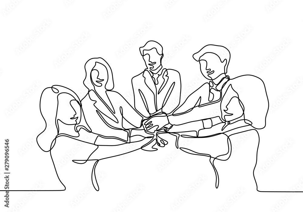 Fototapeta Continuous line drawing of Business people join hand together during their meeting