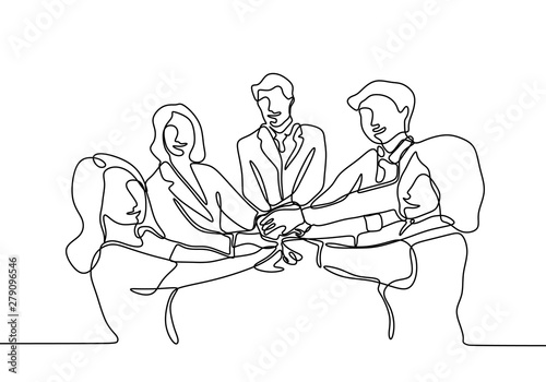 Obraz Continuous line drawing of Business people join hand together during their meeting - fototapety do salonu