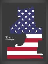Fontana California City Map With American National Flag Illustration