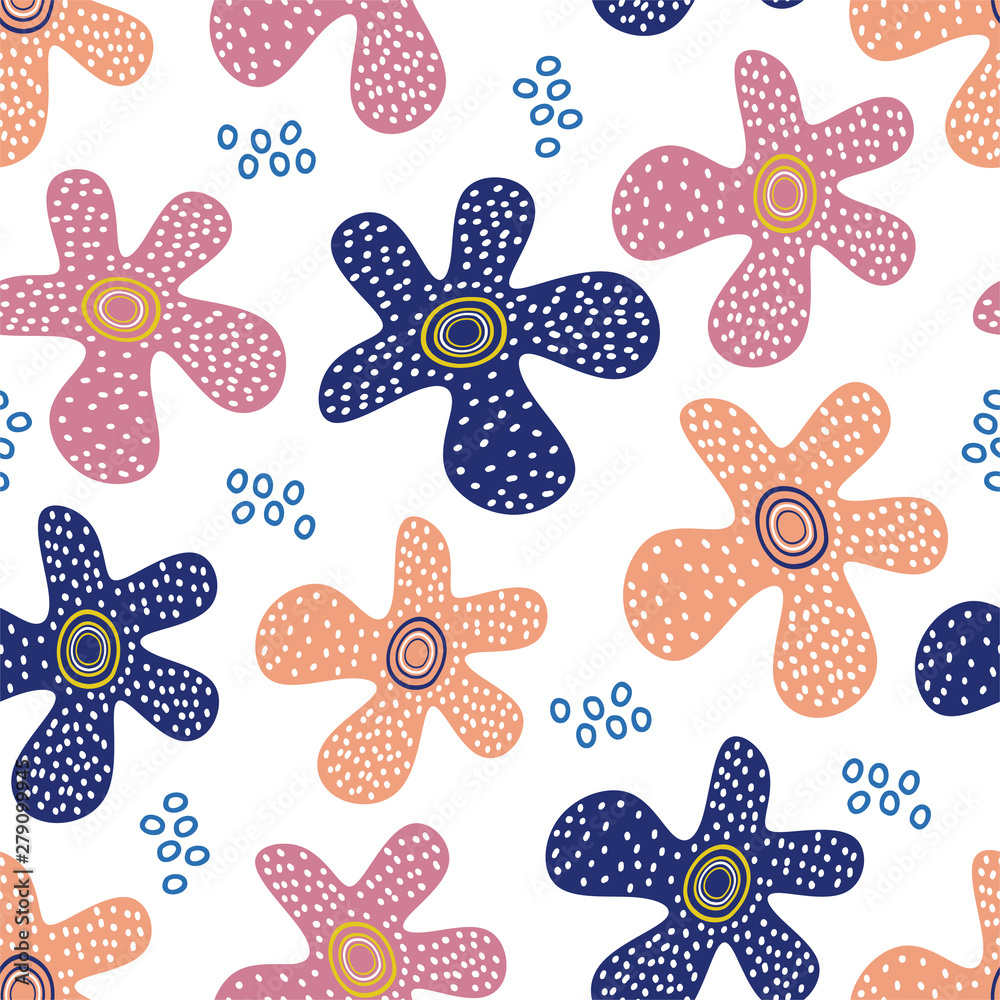 Flower scandinavian pattern with hand drawn unique floral elements pastel colors background