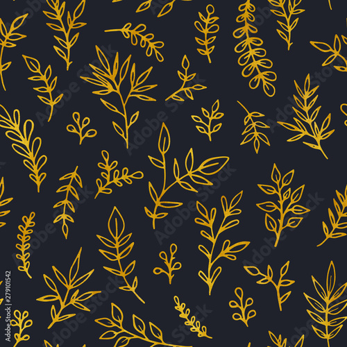 Foto auf AluDibond Boho-Stil Folk vintage raster seamless pattern. Ethnic floral motif dark hand drawn background. Contour tribal golden inflorescence, blossom, plants. Ditsy decorative textile, wallpaper design.