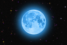 Blue Super Moon Glowing Against Colorful Starry Sky Dark Background
