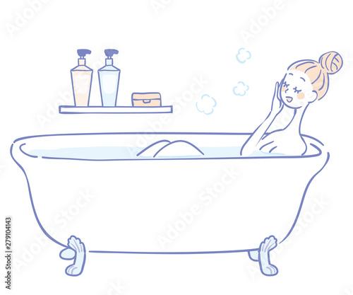 Obraz na plátně 入浴する女性のイラスト
