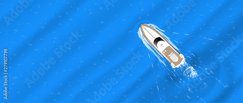 The yacht floats, top view. Racing on the waves, pleasure boat, motor boat. Flat style tourist yacht aerial view. Summer escape template for web banner. Top view of the sports boat. Vector