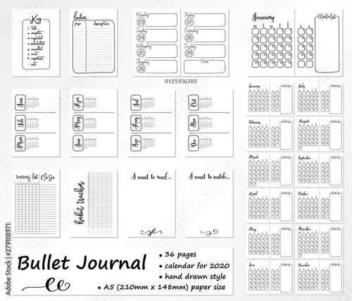 Calendrier Bullet Journal 2020.Set Of 36 Pages For Bullet Journal With Calendar On 2020