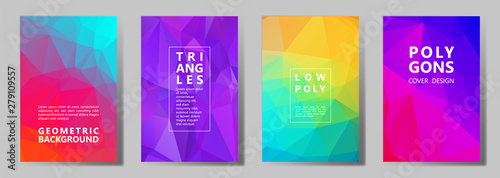 Valokuvatapetti Facet polygonal abstract cover pages, low poly set