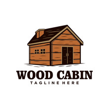 Wood Cabin / House Vintage Log...