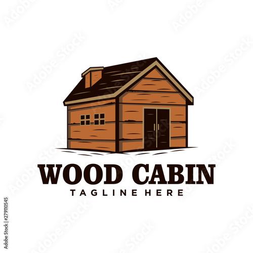 Foto Wood cabin / house vintage logo. Cabin rental