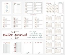 Set Of 36 Multicolored Pages For Bullet Journal With Caledar On 2020 Year With A Week That Starts From Sunday. Diary Template.