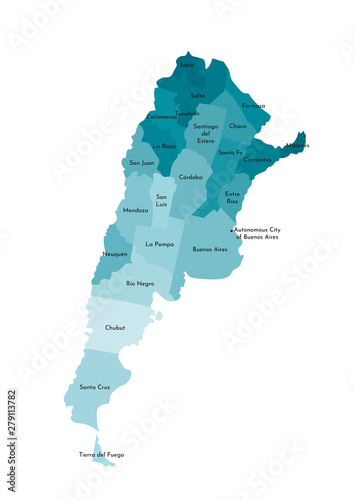 Vector isolated illustration of simplified administrative map of Argentina Wallpaper Mural