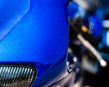 Front View Of Blue Motorcycle