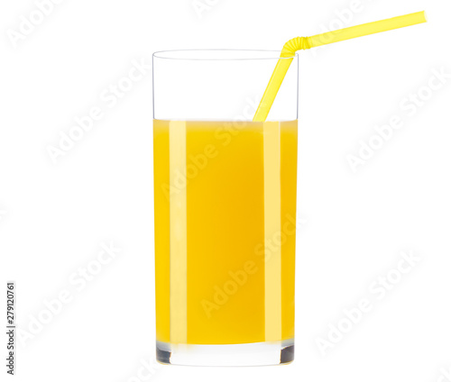 Foto auf Leinwand Saft Orange juice glass isolated