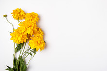 Beautiful Bouquet Of Yellow Chrysanthemums Close Up On White Background With Empty, Clear Space, Place For Text Postcard Concept.