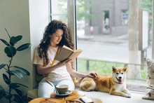 Pretty Girl Is Reading Book An...