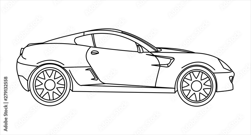 Outline Car Coloring Book For Kids And Adults. Fast Racing Car, Side View.  Modern Flat Vector Illustration On White Background. - Buy This Stock  Vector And Explore Similar Vectors At Adobe Stock |