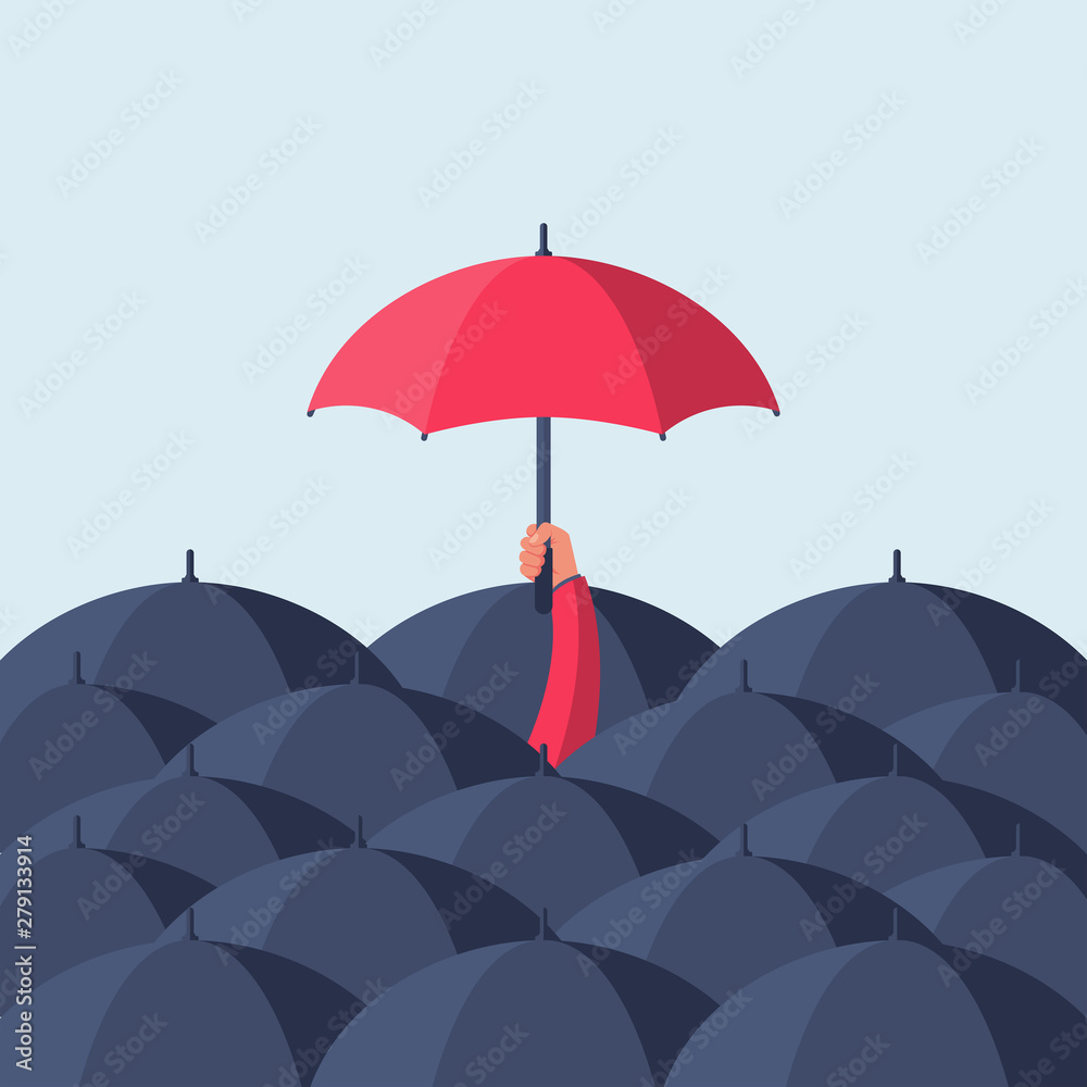 Fototapeta Uniqueness and individuality. Man holding a red umbrella among people with black umbrellas. Standing out from the crowd.Difference concept. Vector illustration flat design. Isolated on background.