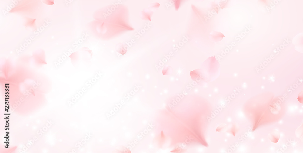 Fototapety, obrazy: Petals of pink rose spa background. Realistic flying sakura cherry flower elements for romantic banner design.