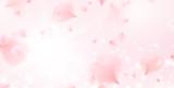 Fototapeta Kwiaty - Petals of pink rose spa background. Realistic flying sakura cherry flower elements for romantic banner design.