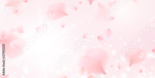 Valokuva  Petals of pink rose spa background