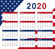 2020 USA Calendar. 12 Months. Colors Of The American Flag Vector Printable Design II.