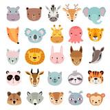 Fototapeta Fototapety na ścianę do pokoju dziecięcego - Big animal set. Cute faces. Hand drawn characters.