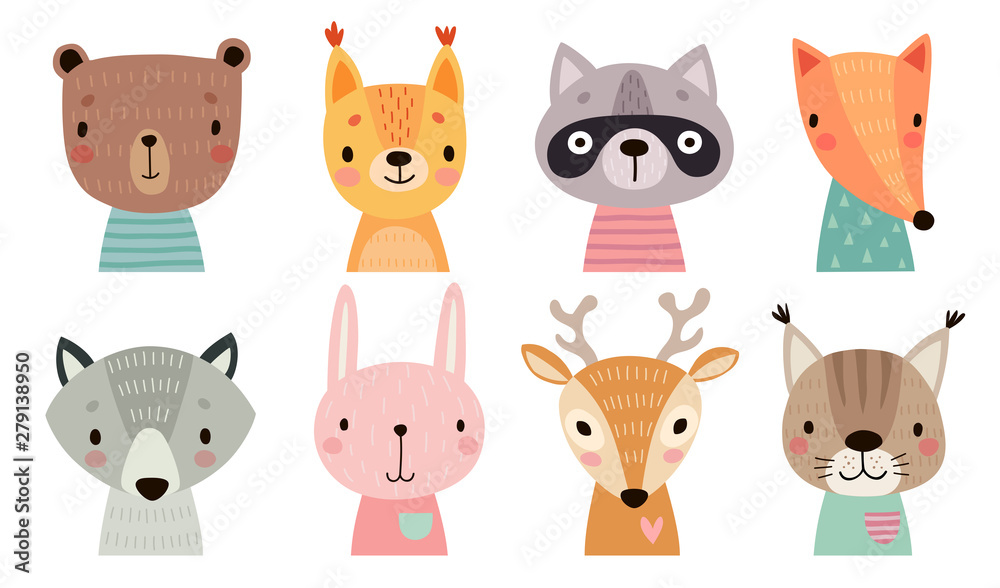 Fototapety, obrazy: Cute animal faces. Hand drawn characters.