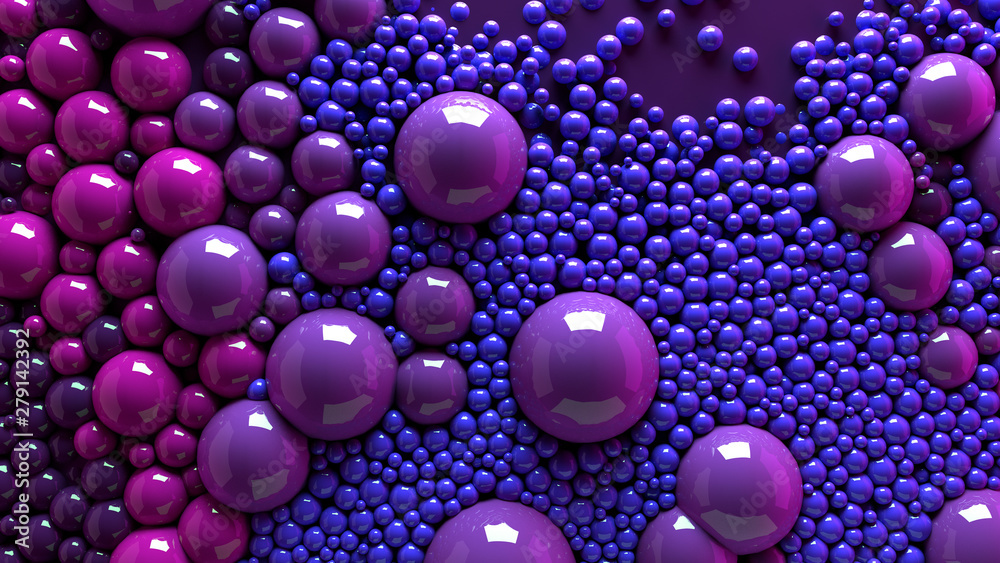 Fototapeta 4k 3d animation of spheres and balls colorful rainbow in a organic motion background. Top view of bubbles colorful paint