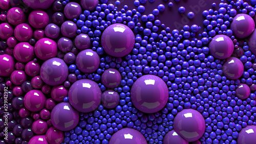 Poster Bol 4k 3d animation of spheres and balls colorful rainbow in a organic motion background. Top view of bubbles colorful paint