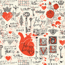 Abstract Background With Hearts, Roses, Keys, Keyholes, Cupids And Handwritten Inscriptions. Vector Seamless Pattern On The Theme Of Declaration Of Love And Valentine Day In Retro Style