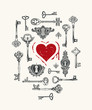 Vector greeting card or banner on the theme of love with hand-drawn vintage keys and red heart with blood in retro style. The keys to the heart.