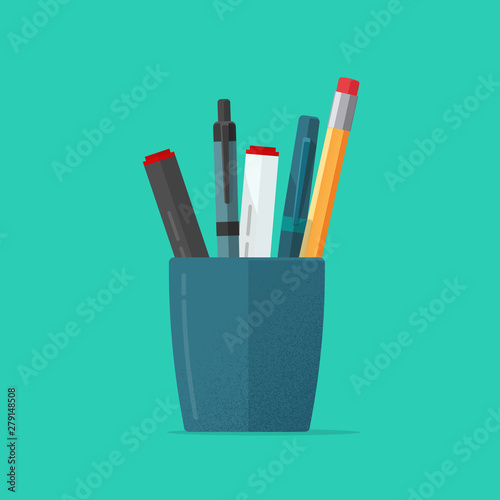 Pencils holder vector illustration or flat cartoon blue glass with stationery pe Canvas-taulu