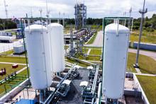 Aerial View Of Liquid Chemical Tank Terminal, Storage Of Liquid Chemical And Petrochemical Products