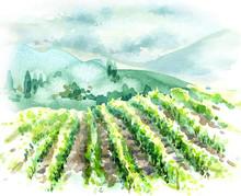 Watercolor Rural Scene With Hi...