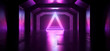 canvas print picture - Sci Fi Future Neon Purple Blue Glowing Triangle Shape Empty Dark Spaceship Tunnel Underground Vibrant Lasers Shape Grunge Concrete Reflective Graphic Background 3D Rendering