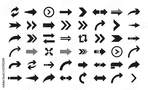 Fototapeta Arrow icon. Big set of vector flat arrows. Collection of concept arrows for web design, mobile apps, interface and more. obraz na płótnie