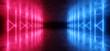 canvas print picture - Neon Lights Virtual Sci Fi Futuristic Vibrant Purple Blue Glowing Laser Beam Shapes Dark Grunge Concrete Tunnel Underground Hall Garage Room Gallery Night 3D Rendering