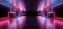 Neon Lights Virtual Sci Fi Futuristic Vibrant Purple Blue Glowing Laser Beam Shapes Dark Grunge Concrete Tunnel Underground Hall Garage Room Gallery Night 3D Rendering