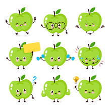 Cute Happy Smiling Apple Chara...