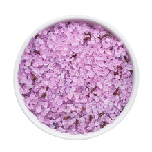 SPA Conept. Lavender Bath Salt In Bowl Isolated Over White Background With Clipping Path. Top View