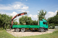 Truck With Mounted Crane